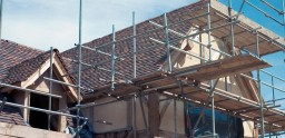 Residential house with domestic scaffolding erected